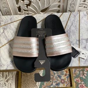 NEW🦋 Adidas Adilette  Pink+Silver sparkle slides